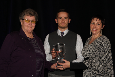 Anna Meyers was named co-winner of the Lloyd Chisholm Memorial Award.Taking part in thepresentation were: Mary Chisholm (L.), SBOA Vice President Walter Parkinson (Centre) and SBOA Administrator Aimee Adams (Rt.).